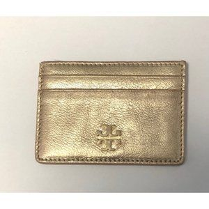 """Tory Burch """"Caitlin"""" Gold Leather card holder"""